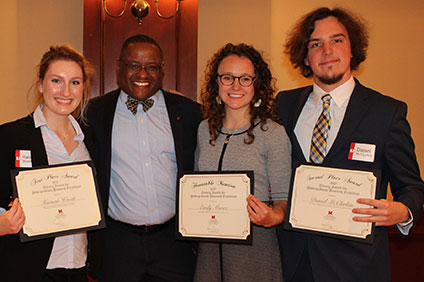 Three previous LAURE winners with Dean of Libraries Jerome Conley